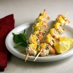 Grilled Herb Shrimp with Mango Coulis