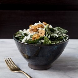 Kale Salad with Lemon Dressing and Garlic Chips