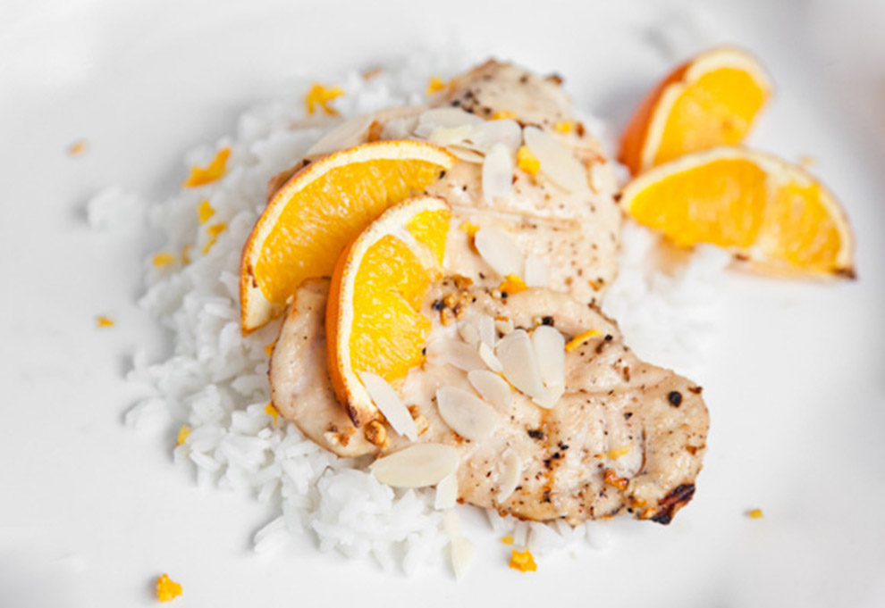Orange Ginger Chicken Breasts With Rice