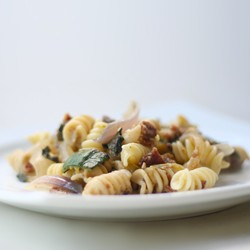 Parmesan Garlic Pasta with Roasted Vegetables Basil and Bacon