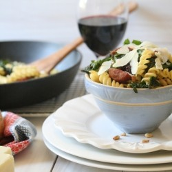 Pasta with Swiss Chard Sausage Raisins Garlic and Parmesan Cheese Recipe
