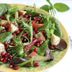 Pear Pomegranate Green Salad Recipe