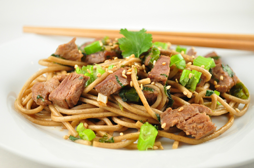 Pork Buckwheat Noodle Stir Fry