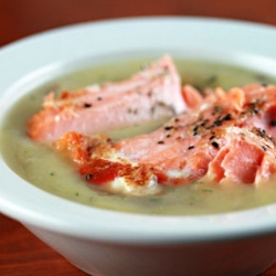 Potato Leek Salmon Soup