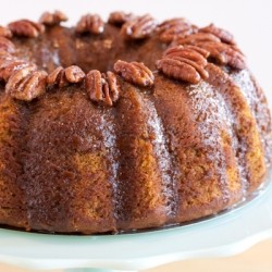 Pumpkin Pecan Cake with Brown Sugar and Bourbon Glaze