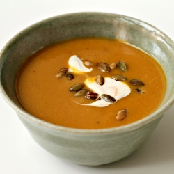 Roasted Pumpkin Soup with Cinnamon Creme Fraiche and Toasted Pumpkin Seeds Recipe