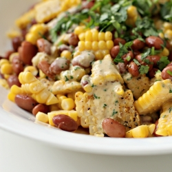 Succotash with Creamy Barbecue Lime Dressing Recipe