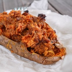 Twice Baked Sweet Potato stuffed with spicy Chorizo