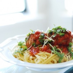 White Truffle Herb Turkey Meatballs on Linguine Arrabiata