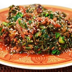 Winter Greens Saute with Sun Dried Tomatoes
