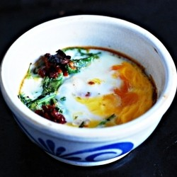 Baked Eggs with Potatoes and Spinach