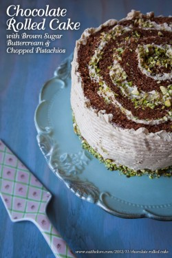 Chocolate Rolled Cake with Brown Sugar Buttercream and Chopped Pistachios Recipe