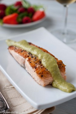 Salmon with Avocado Cream Sauce
