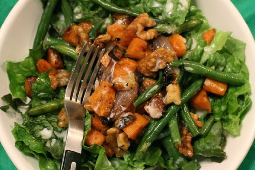 Red Leaf Salad with Roasted Sweet Potatoes