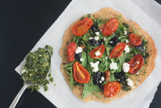 Socca Pizza with Basil-Arugula Pesto