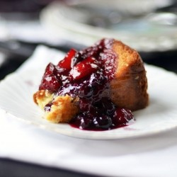 Yogurt Cake Peach Blueberry Compote