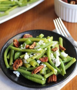 Green Beans with Sweet Spiced Pecans and Goat Cheese Recipe