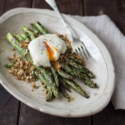 Asparagus with Breadcrumbs and Poached Egg Recipe