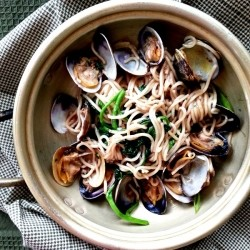 Clams with Noodles and Watercress Recipe