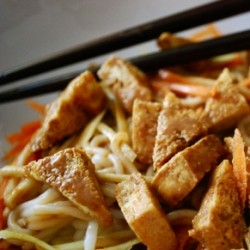 Cold Tofu Noodle Salad with Peanut Dressing