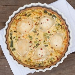 Leeks and Goat Cheese Tart with Pink Pepper