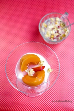 Poached Stone Fruit with Jasmine and Chrysanthemum Flowers