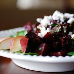Roasted Beet Salad with goat Cheese and D'anjou Pear