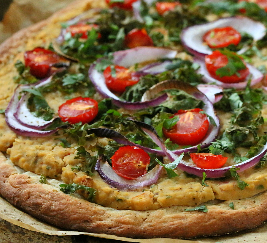 Roasted Hatch Chile Hummus Kale Pizza Recipe