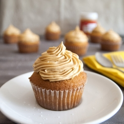 Vanilla Salted Caramel Cupcakes with Peanut Butter Surprise