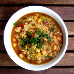 Vegan Chickpea Rice and Pasta Soup