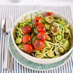 Vegetable Spaghetti with Parsley Pesto Recipe