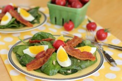 Bacon Egg Spinach Salad Mustard Miso Dressing Retro Recipe