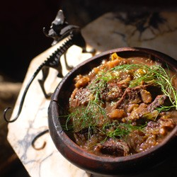 Beef Stew with Oatmeal Risotto