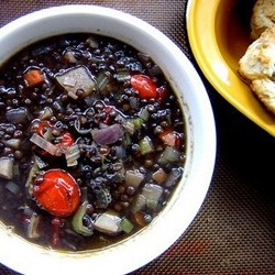 Black Beluga Lentil Soup with Roasted Cherry Tomatoes
