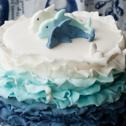 Blue Ombre Cake with Nutella Swiss Meringue Bttercream