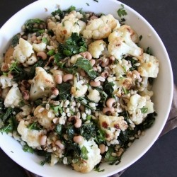 Cauliflower and Herbed Barley with Collard Greens