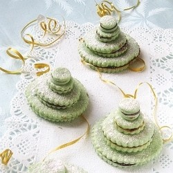 Christmas Tree Sandwich Cookie Stacks