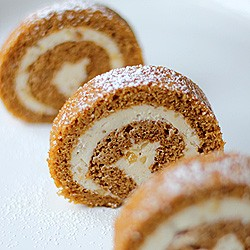 Double Ginger Pumpkin Roll Cake