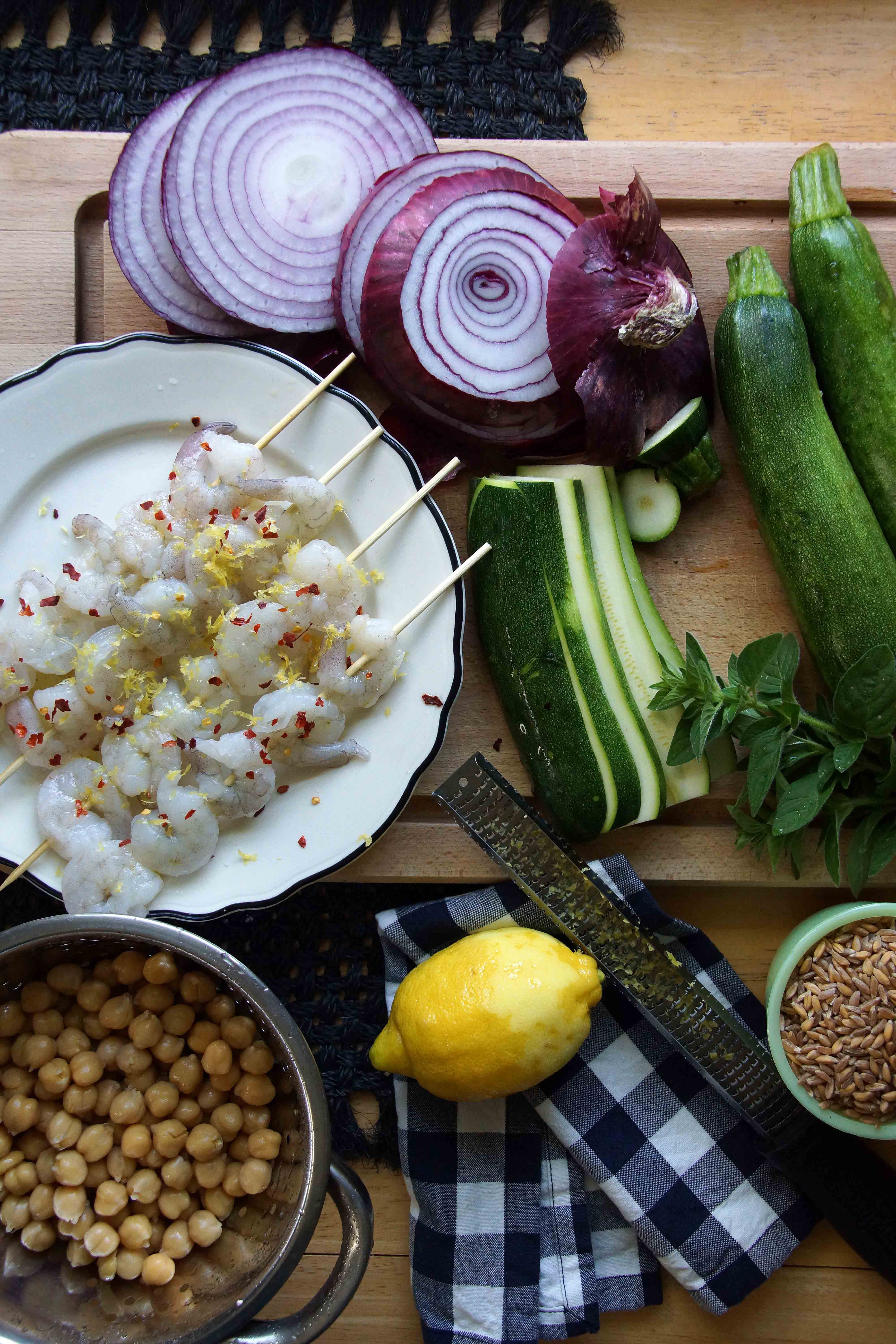 Grilled Shrimp Skewers with Farro Salad Recipe