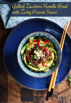 Grilled Zucchini Noodle Bowl with Sriracha Peanut Sauce Recipe