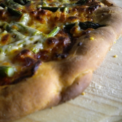 Harissa Asparagus Pizza on Honey Paprika Dough