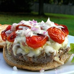Italian Burgers with Basil Mozzarella and Roasted Tomatoes