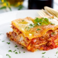 Lasagna with Bechamel and Meat Sauce