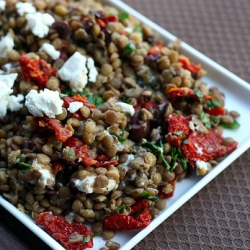 Lentil Salad with Sun Dried Tomatoes Olives and Goat Cheese