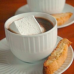 Macadamia Biscotti with Hot Chocolate and Homemade Marshmallows
