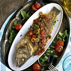 Pan fried sea bass with puttanesca sauce