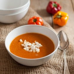 Roasted Pepper Goat Cheese Harissa Soup Recipe