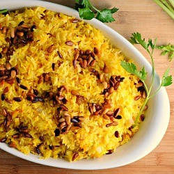 Saffron Rice with Golden Raisins and Pine Nuts Recipe