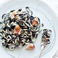 Squid Ink Pasta with Blue Cheese and Figs Recipe