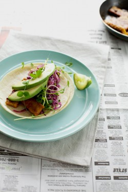 Tempeh Tacos with Grapefruit Slaw and Avocado